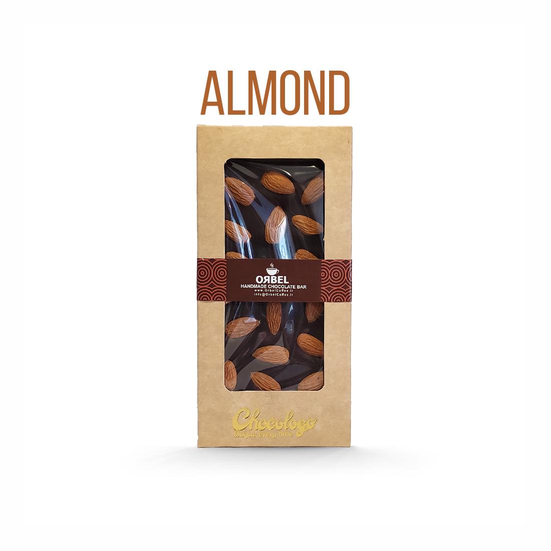 شکلات تخته ای اربل با مغز بادام درختی وزن 100 گرم